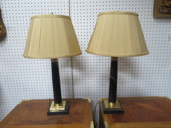 Vintage Pair of Black Marble and Brass Lamps – $195 for the pair