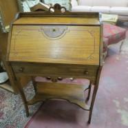Vintage antique small walnut secretary desk – $175