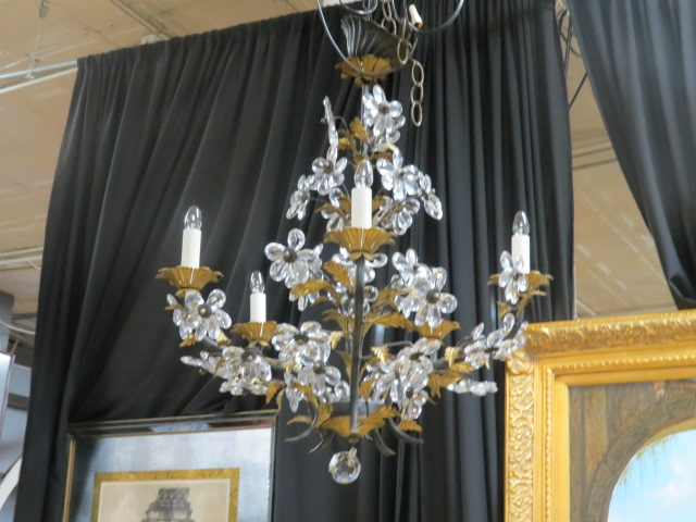 Vintage Antique Italian 5 Arm Crystal Flower Chandelier 595