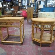 Vintage mid century modern pair of rattan tables – $90