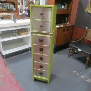 Vintage mid century modern narrow chest of drawers – $229