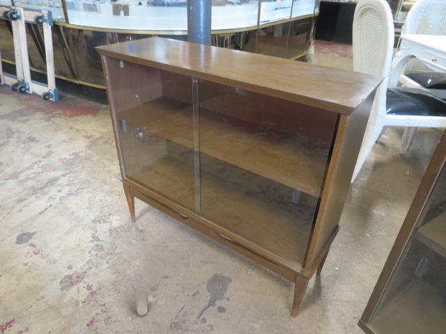 vintage mid century modern walnut glass door bookcase u2013 195