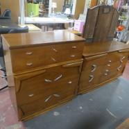 Vintage Mid Century Modern Kent Coffey Walnut Chest and Dresser Set – $750