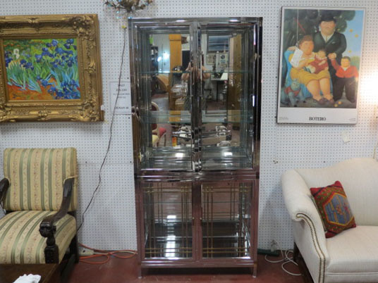 Vintage Mid Century Modern Chrome, Brass and Glass display cabinet – $495