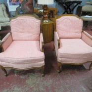 Vintage Antique Pair of Walnut French Style Pink Bergere Armchairs – $395