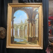 Vintage Antique Large Oil Painting of Roman Arches – $729