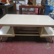 SALE! Vintage mid century modern 2 tier blonde laminate coffee table – $85