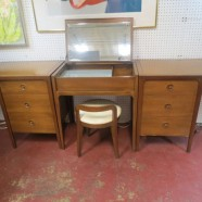Vintage mid century modern walnut 4 piece modular vanity set by Drexel – $1495 for the set
