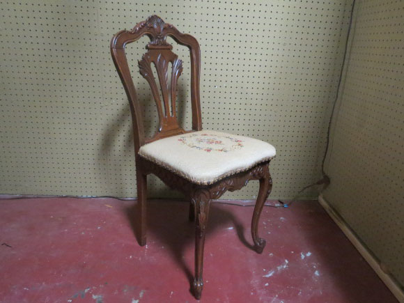Vintage Antique Small French Mahogany Vanity Chair - $100