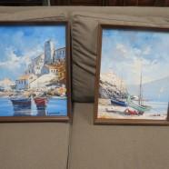 Vintage Mid Century Modern Pair of Seaside Oil Paintings – $120