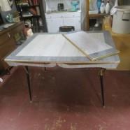 Vintage Mid-Century Modern Gray Laminate Dining Table – $89