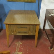 SALE! Vintage Mid-Century Modern Walnut Side Table with Drawer – $100