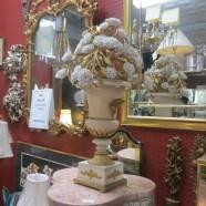 Vintage Antique Cream and Brass Flower Urn Lamp – $475
