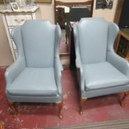 SALE! Vintage Antique Pair of Queen Ann Blue/Gray Wingback Arm Chairs – $190 each