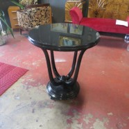 Vintage Art Deco Black Lacquered Round Side Table – $450
