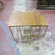 Vintage Mid-Century Modern Set of 3 Nesting Tables with Leather Top – $195
