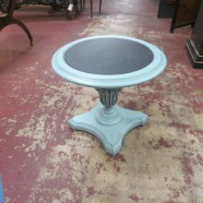 Vintage Antique Painted Slate Top Round Side Table/Plant Stand – $49