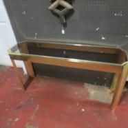 Vintage Mid-Century Modern Brass and Glass Sofa/Console Table – $195