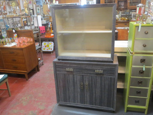 Vintage Mid-Century Modern Gray Laminate Hutch/China Cabinet – $335