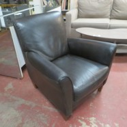 Vintage Mid-Century Modern Italian Leather Black Lounge Chair – $295