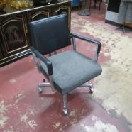 Vintage Mid-Century Modern Black Vinyl and Tweed Office Chair – $125