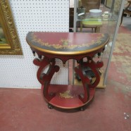 SALE! Vintage Unusual Red, Black and Gold Hand Painted Side Table – $45