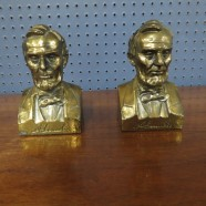 Vintage Antique Pair of Brass Lincoln Bookends – $75