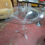 Vintage Mid-Century Modern Lucite and Glass Round Side Table – $150