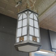 Vintage Antique Textured Glass, Metal Gothic Style Chandelier – $295