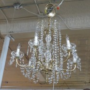 Vintage Antique Brass and Crystal 6 Arm Chandelier – $299