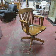 Vintage Antique Solid Oak and Walnut Desk Chair on Wheels – $195