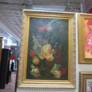Vintage Antique Style Large Floral Oil Painting Gold Frame – $125
