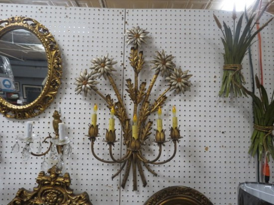 Vintage Antique Italian Gold Gilt Metal Large Flower 5 Arm Wall Sconce – $265