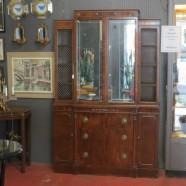 Vintage antique mirror front mahogany breakfront cabinet – $595