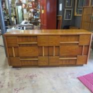 Vintage Mid-Century Modern Lane Walnut and Brass Credenza/Dresser – $595