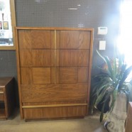 Vintage Mid-Century Modern Lane Walnut and Brass Chest of Drawers – $395