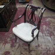 Vintage Maitland-Smith Mahogany Harp Back Desk Chair – $375