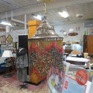 Vintage Moroccan Hanging Lamp with Beaded Fringe – $125