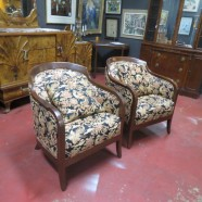 Vintage Antique Mahogany Pair of Tub Chairs with Chinese Dragon Upholstery – $695