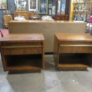 Vintage Mid-Century Modern Lane Walnut/Brass Nightstands/Side Tables – $295
