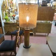 Vintage Mid-Century Modern Round Teak Lamp and Rattan Shade – $195