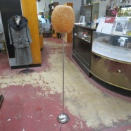Vintage Chrome Torchiere Floor Lamp With Rattan Shade – $65