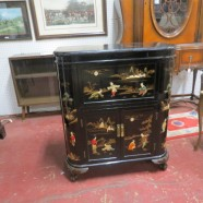 Vintage Chinese Style Black Lacquered Bar Cabinet – $595