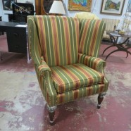 Vintage Antique Style Striped Large Wingback Arm Chair – $350