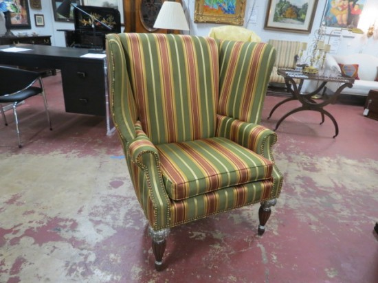 Vintage Antique Style Striped Large Wing Chair – $350