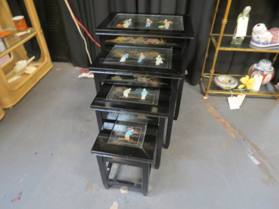 Vintage Mid-Century Modern Set of 4 Chinese Nesting Tables – $195/set
