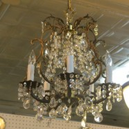 Vintage Antique 5 Light Brass and Crystal Small Chandelier – $325