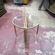 Vintage Antique 2 Piece Brass and Glass Small Tables – $125