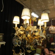 Vintage Antique Italian Gilt Metal 5 Arm Chandelier – $295