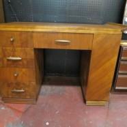 Vintage Art Deco Unusual Walnut Desk with Bookcase Side – $250